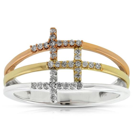 Triple Cross Tri-Tone Diamond Ring 14K