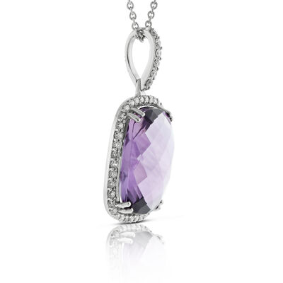 Cushion Amethyst & Diamond Pendant 14K