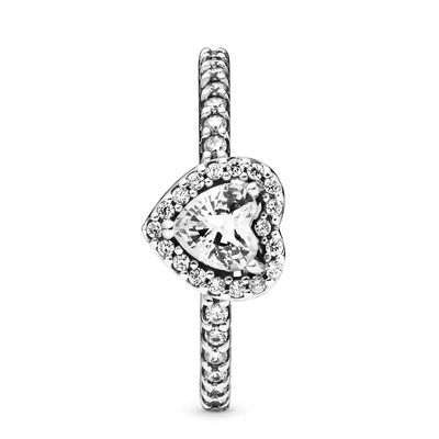 Pandora Elevated Heart CZ Ring