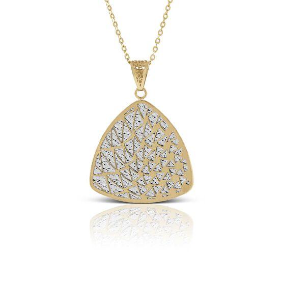 Toscano Laser Cut Shield Necklace 14K