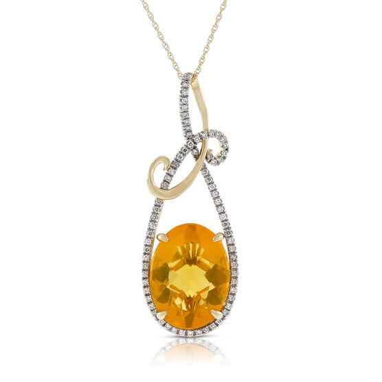 Orange Opal & Diamond Pendant 14K