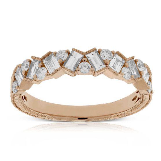 Rose Gold Scattered Diamond Band 14K
