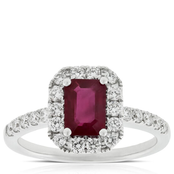 Ruby & Diamond Halo Ring 14K