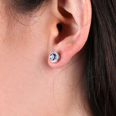 Tanzanite & Halo Diamond Earrings 14K