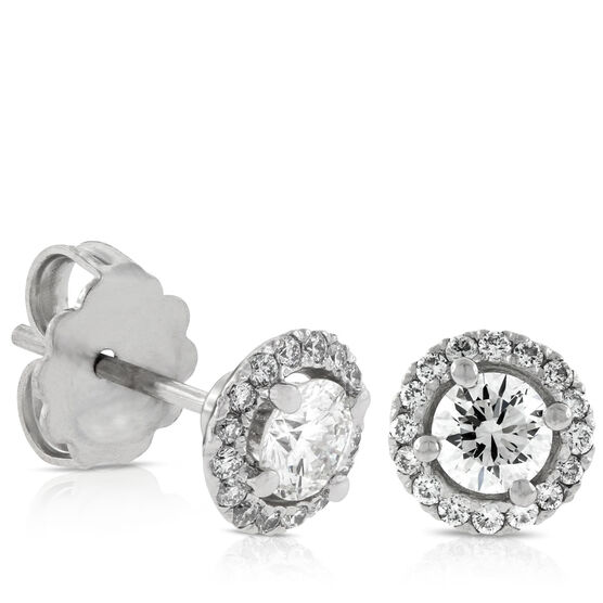Signature Forevermark Diamond Halo Earrings 18K, 1/2 ctw. Centers