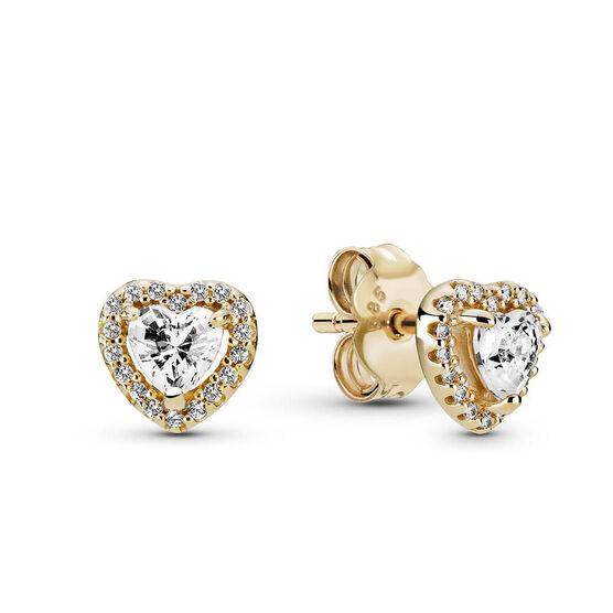 Pandora Elevated Heart CZ Stud Earrings 14K
