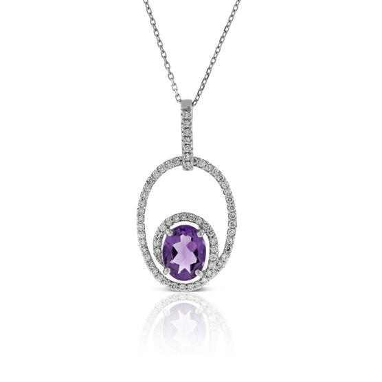 Oval Amethyst & Diamond Necklace 14K