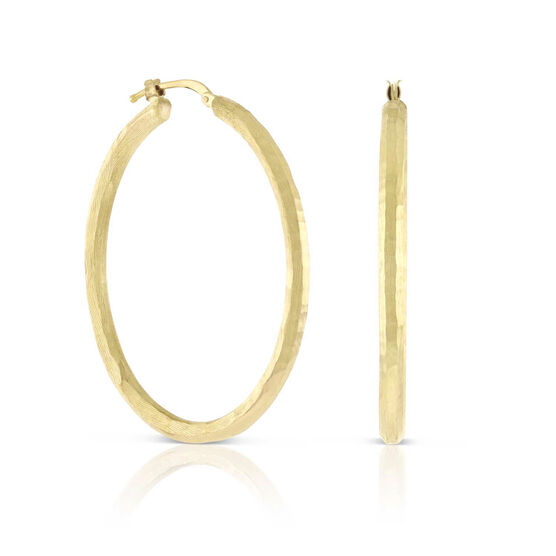 Toscano Roman Hammered Oval Hoop Earrings 14K