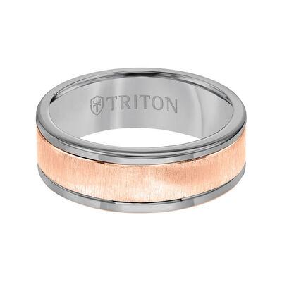 Rose Gold TRITON Custom Comfort Fit Satin Finish Band in Grey Tungsten & 14K, 8 mm