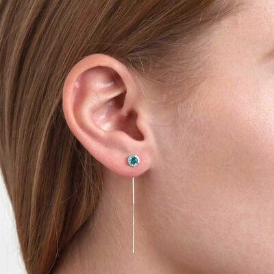 Blue Topaz & Diamond Halo Threader Earrings 14K