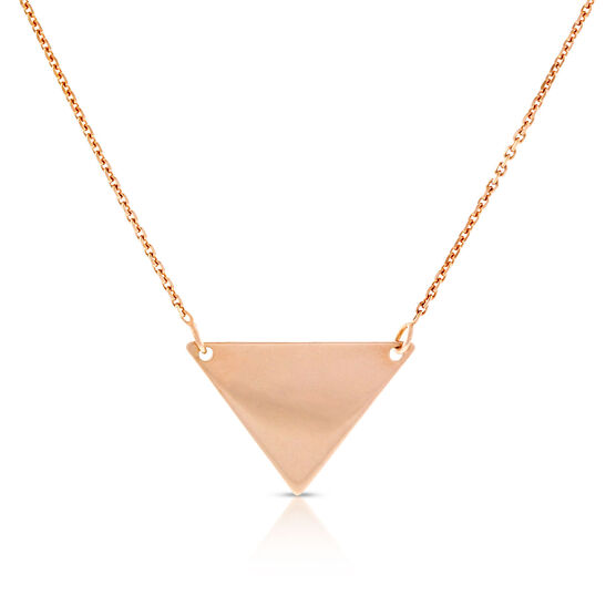 Rose Gold Engravable Triangle Necklace 14K