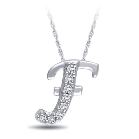 "Diamond ""F"" Initial Pendant 14K"