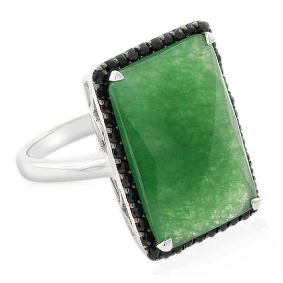 Lisa Bridge Chalcedony & Black Sapphire Ring