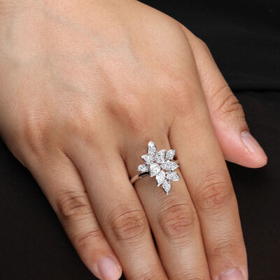 Diamond Cluster Petal Ring 14K