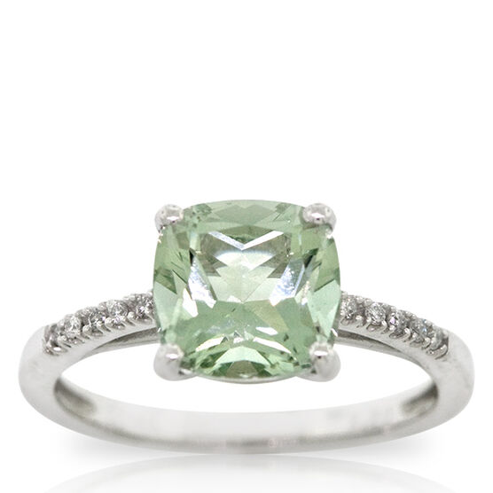 Cushion Cut Green Quartz & Diamond Ring 14K