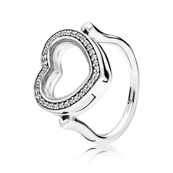 PANDORA Sparkling Pandora Floating Heart CZ Locket Ring