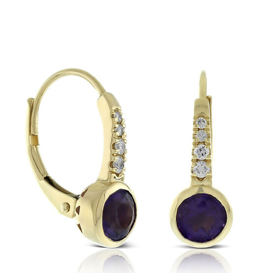 Bezel Set Amethyst & Diamond Earrings 14K