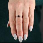 Rose Gold Garnet & Sapphire Ring 14K
