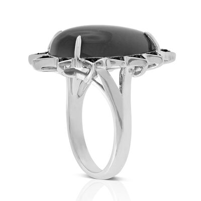Lisa Bridge Grey Moonstone & Black Sapphire Ring