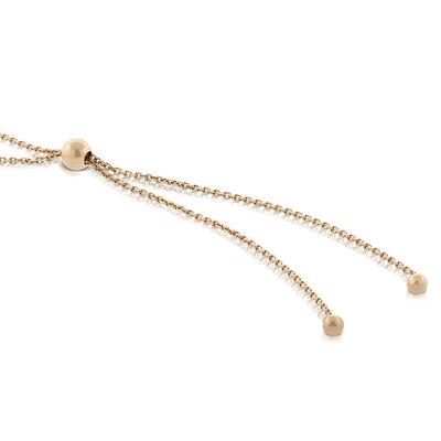 Rose Gold Graduated Cultured Freshwater Pearl Bolo Bracelet 14K
