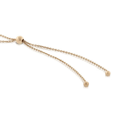 """Rose Gold Graduated Cultured Freshwater Pearl Bolo Necklace 14K, 30"""""""