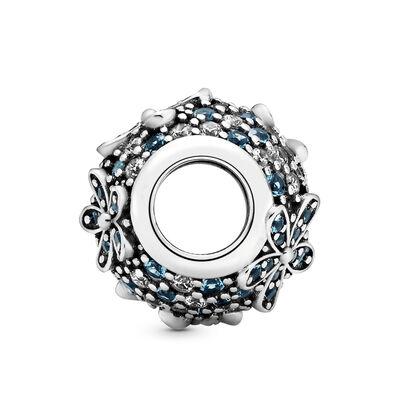 Pandora Teal Pavé Daisy Flower Crystal & CZ Charm