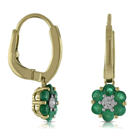 Emerald & Diamond Flower Earrings 14K