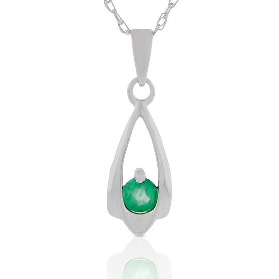 Emerald Teardrop Pendant Necklace 14K
