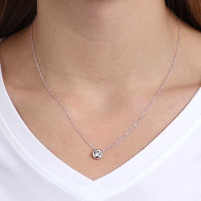 Bezel Set Diamond Necklace 14K, 1 ctw.