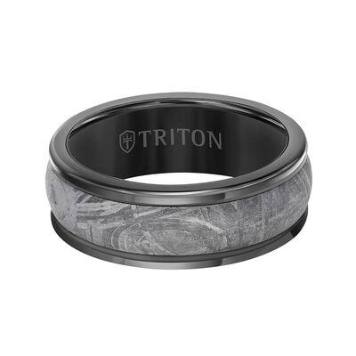 TRITON Custom Comfort Fit Meteorite Band in Black Tungsten, 8 mm