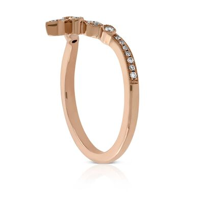 Rose Gold Milgrain Diamond Contour Band 14K