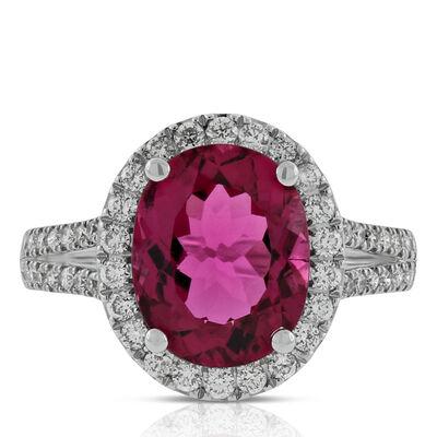 Rubellite & Diamond Halo Ring 14K