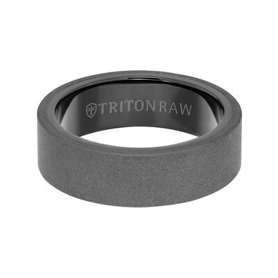 TRITON RAW Comfort Fit Sandblasted Matte Finish Band in Tungsten, 7 mm
