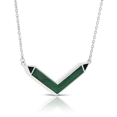 Lisa Bridge Malachite & Onyx Chevron Necklace