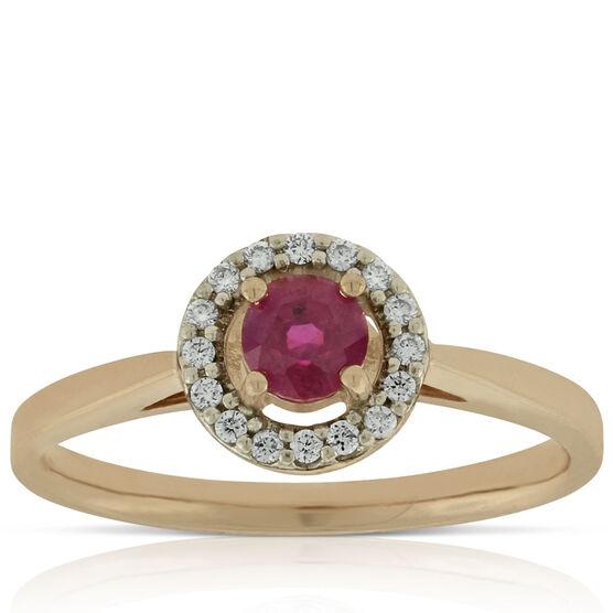 Rose Gold Ruby & Diamond Halo Ring 14K