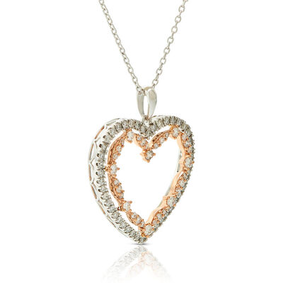 Rose Gold Two-Tone Diamond Heart Necklace 14K