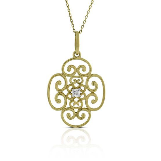 Scroll Diamond Pendant 14K