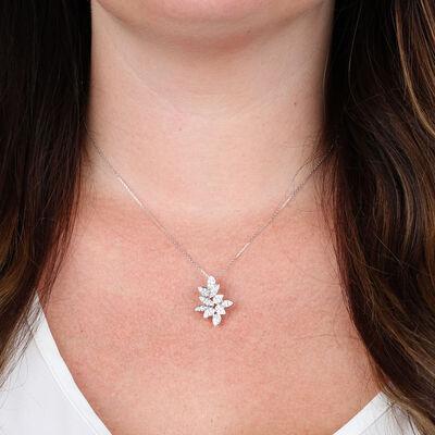 Diamond Petals Pendant 14K