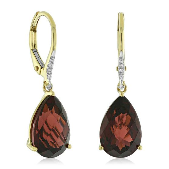Pear Shaped Garnet & Diamond Earrings 14K