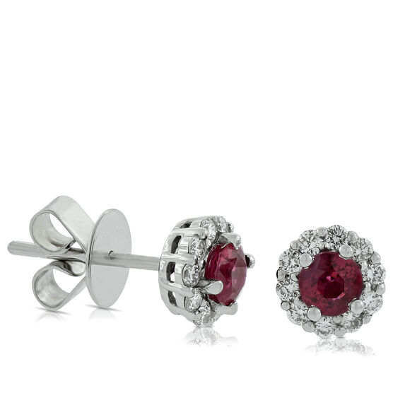 Halo Ruby & Diamond Earrings 14K