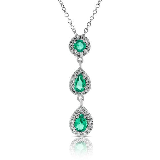 Three-Stone Emerald & Diamond Drop Pendant 14K