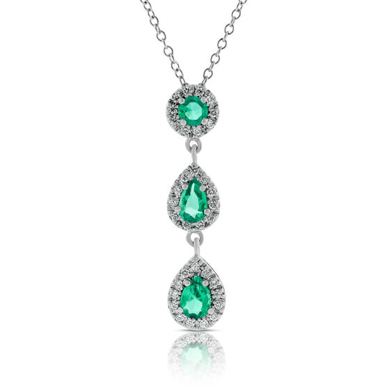 Emerald & Diamond 3-Stone Drop Pendant 14K