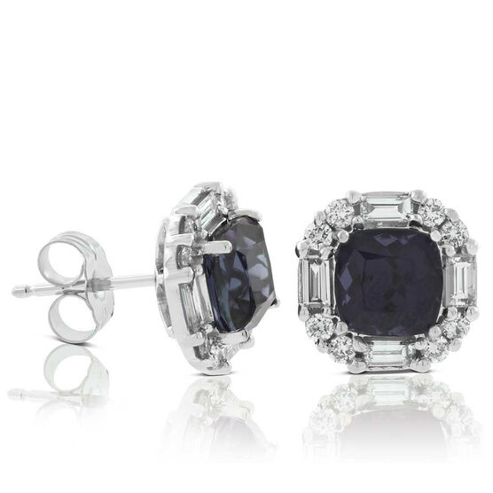 Gray Spinel & Diamond Stud Earrings 14K