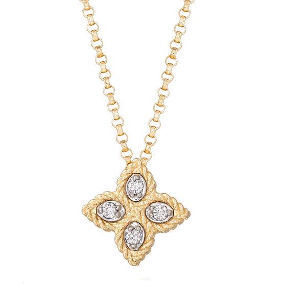 Roberto Coin Princess Flower Diamond Necklace 14K