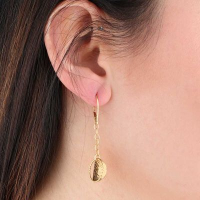 Toscano Dangle Disc Earrings 14K