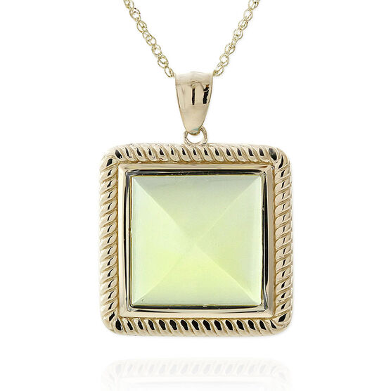 Green Quartz Pyramid Rope Bezel Set Pendant 14K