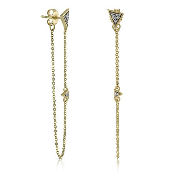 Front to Back Chain Diamond Earrings 14K
