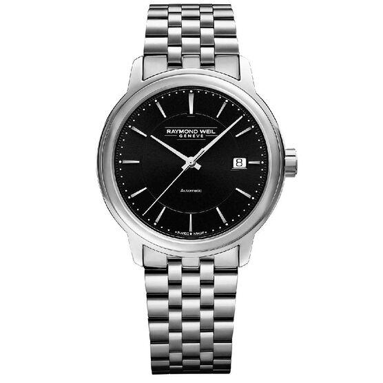 Raymond Weil Maestro Black Dial Automatic Watch, 39.5mm