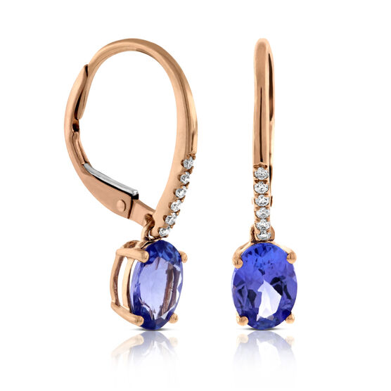 Rose Gold Tanzanite & Diamond Drop Earrings 14K