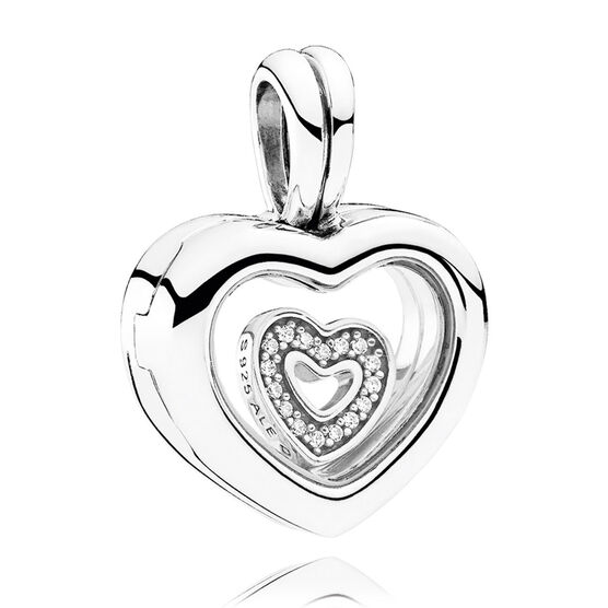 PANDORA Floating Heart Locket Dangle CZ Charm